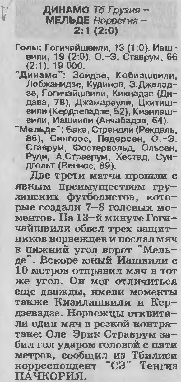 Динамо Тбилиси (Грузия) - Мольде (Норвегия) 2:1