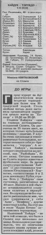 Хайдук (Хорватия) - Торпедо (Россия) 1:0