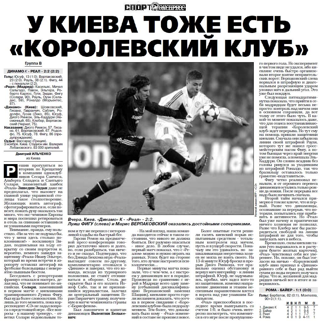 Динамо Киев (Украина) - Реал Мадрид (Испания) 2:2