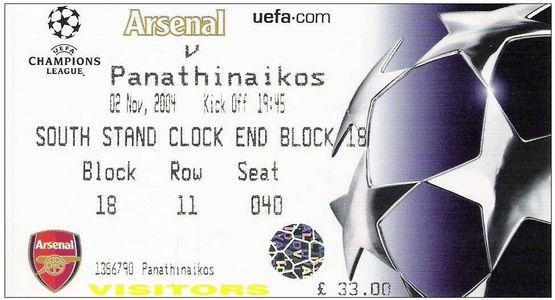 Арсенал (Англия) - Панатинаикос (Греция) 1:1