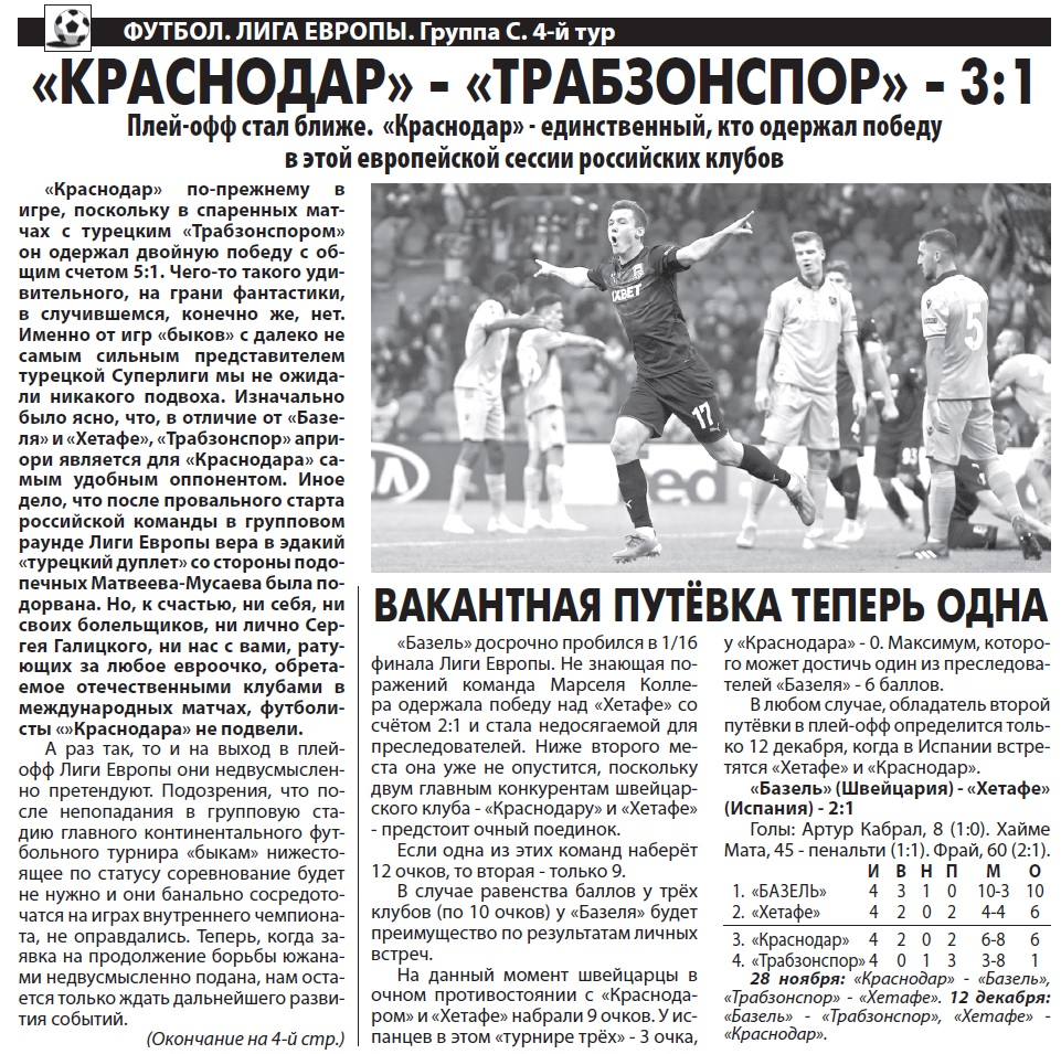 Краснодар (Россия) - Трабзонспор (Турция) 3:1