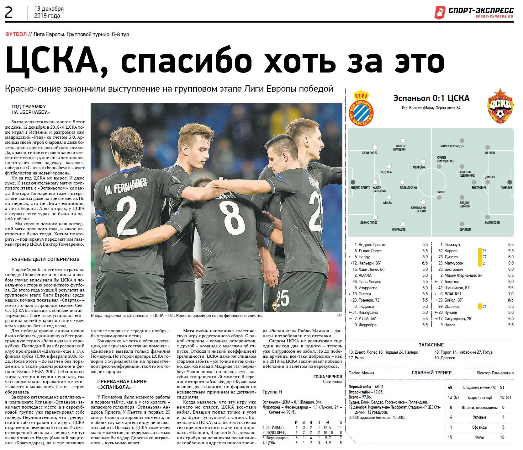 Эспаньол (Испания) - ЦСКА (Россия) 0:1. Нажмите, чтобы посмотреть истинный размер рисунка