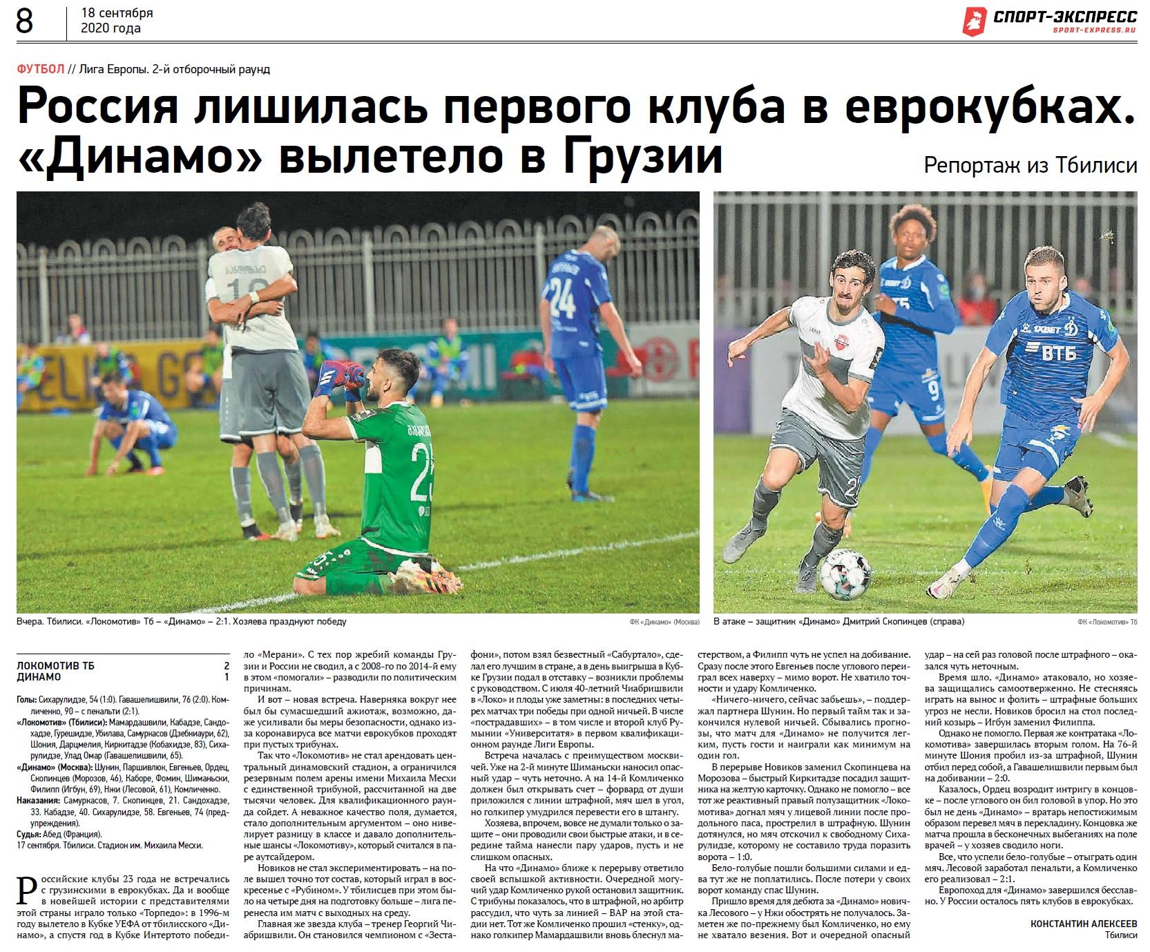 Локомотив Тбилиси (Грузия) - Динамо (Россия) 2:1