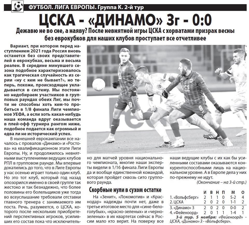 ЦСКА (Россия) - Динамо Загреб (Хорватия) 0:0