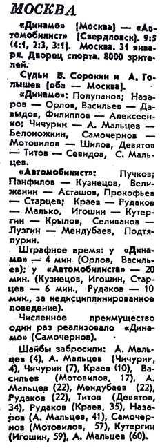 Динамо (Москва) - Автомобилист (Свердловск) 9:5