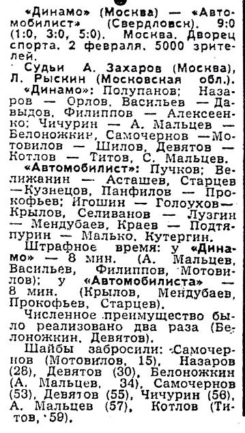 Динамо (Москва) - Автомобилист (Свердловск) 9:0