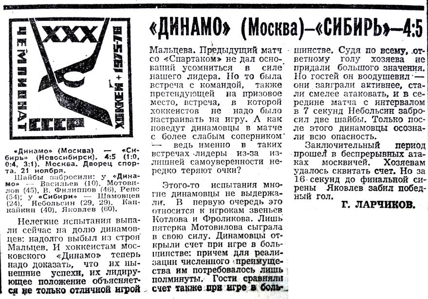 Динамо (Москва) - Сибирь (Новосибирск) 4:5. Нажмите, чтобы посмотреть истинный размер рисунка