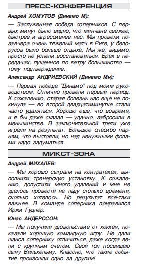 Динамо (Москва) - Динамо (Минск) 1:5