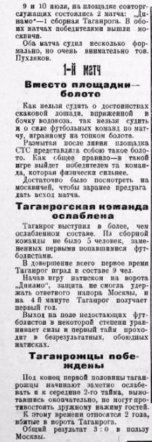 Сборная Таганрога - Динамо (Москва) 0:3