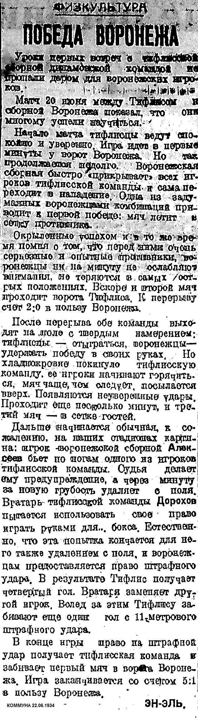 Сборная Воронежа - Динамо (Тбилиси) 5:1