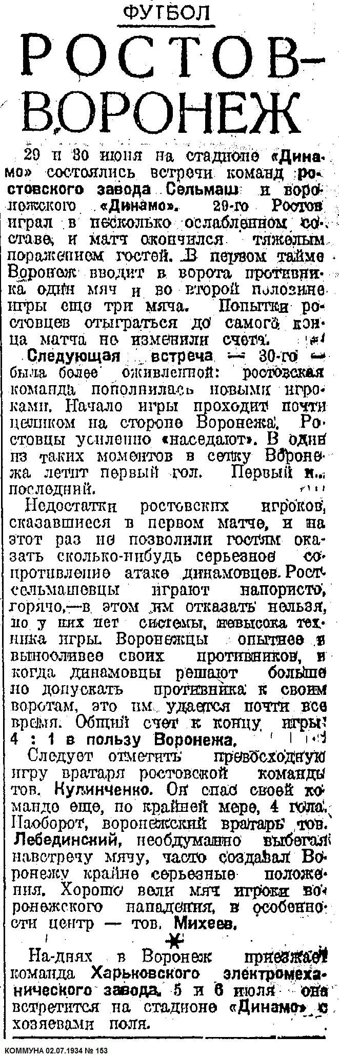 Динамо (Воронеж) - Ростсельмаш (Ростов-на-Дону) 4:1