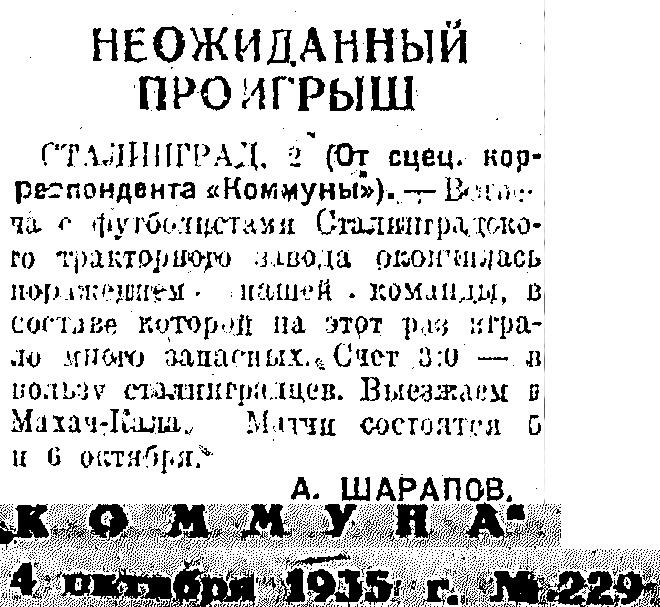 Трактор (Сталинград) - Динамо (Воронеж) 3:0