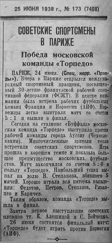 Торпедо (Москва) - Аусиг (Чехословакия) 8:0