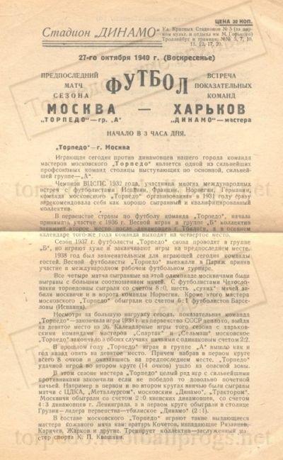 Динамо (Харьков) - Торпедо (Москва) 0:0