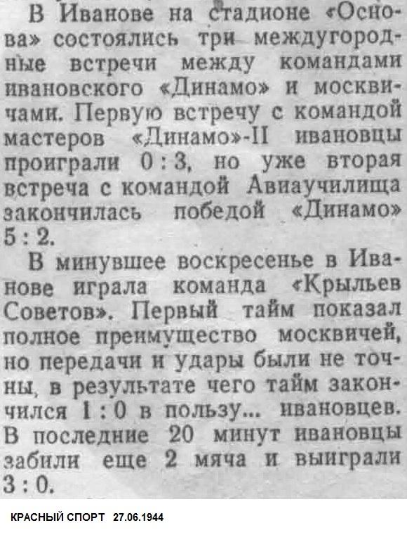 Основа (Иваново) - Крылья Советов (Москва) 3:0