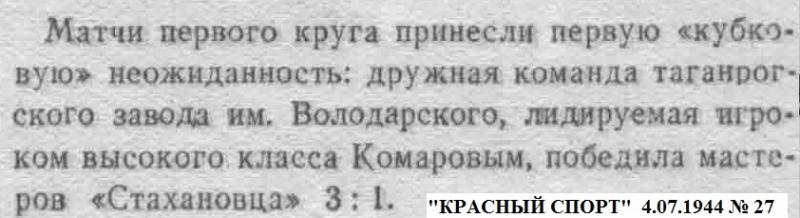 Завод им. Володарского (Таганрог) - Стахановец (Сталино) 3:1. Нажмите, чтобы посмотреть истинный размер рисунка