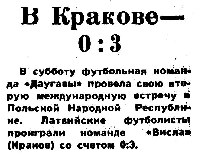 Висла (Краков, Польша) - Даугава (Рига) 3:0