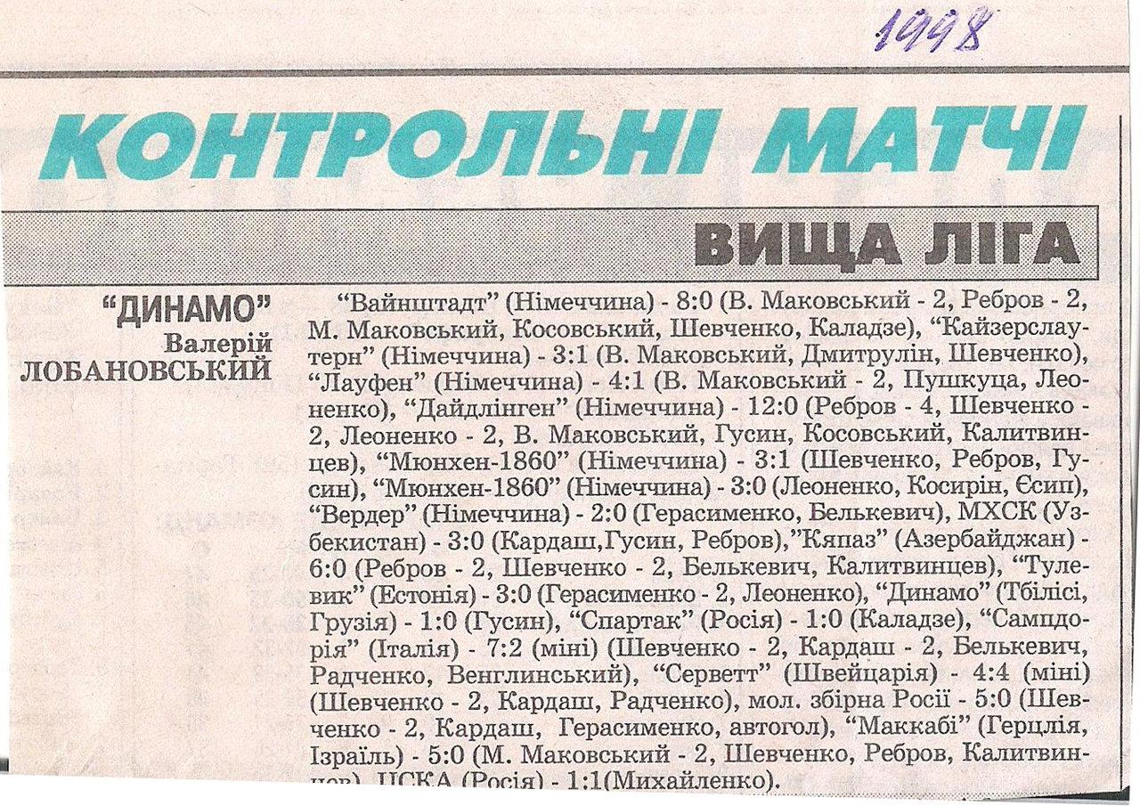 Лауфен (Лауфен, Германия) - Динамо (Киев) 1:4