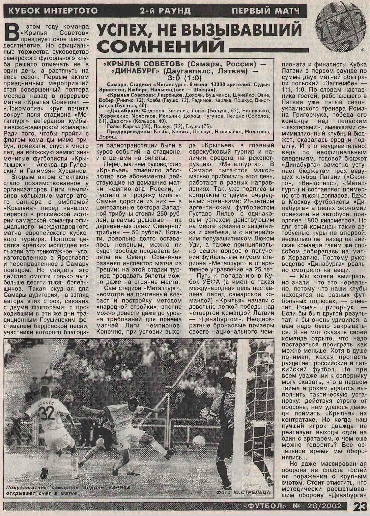 Крылья Советов (Самара) - Динабург (Даугавпилс, Латвия) 3:0. Нажмите, чтобы посмотреть истинный размер рисунка