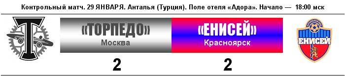 Торпедо (Москва) - Енисей (Красноярск) 2:2