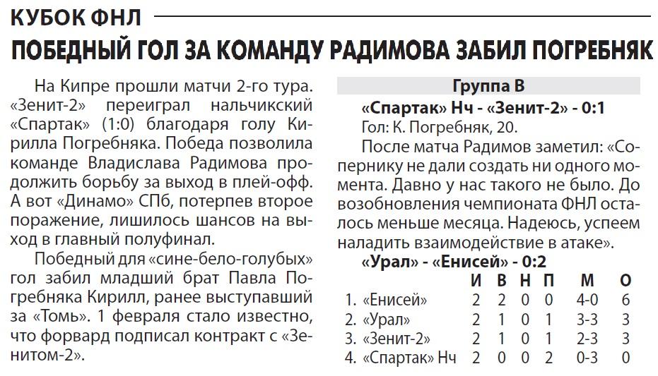 Спартак (Нальчик) - Зенит-2 (Санкт-Петербург) 0:1. Нажмите, чтобы посмотреть истинный размер рисунка
