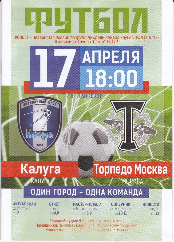 Калуга (Калуга) - Торпедо (Москва) 2:1