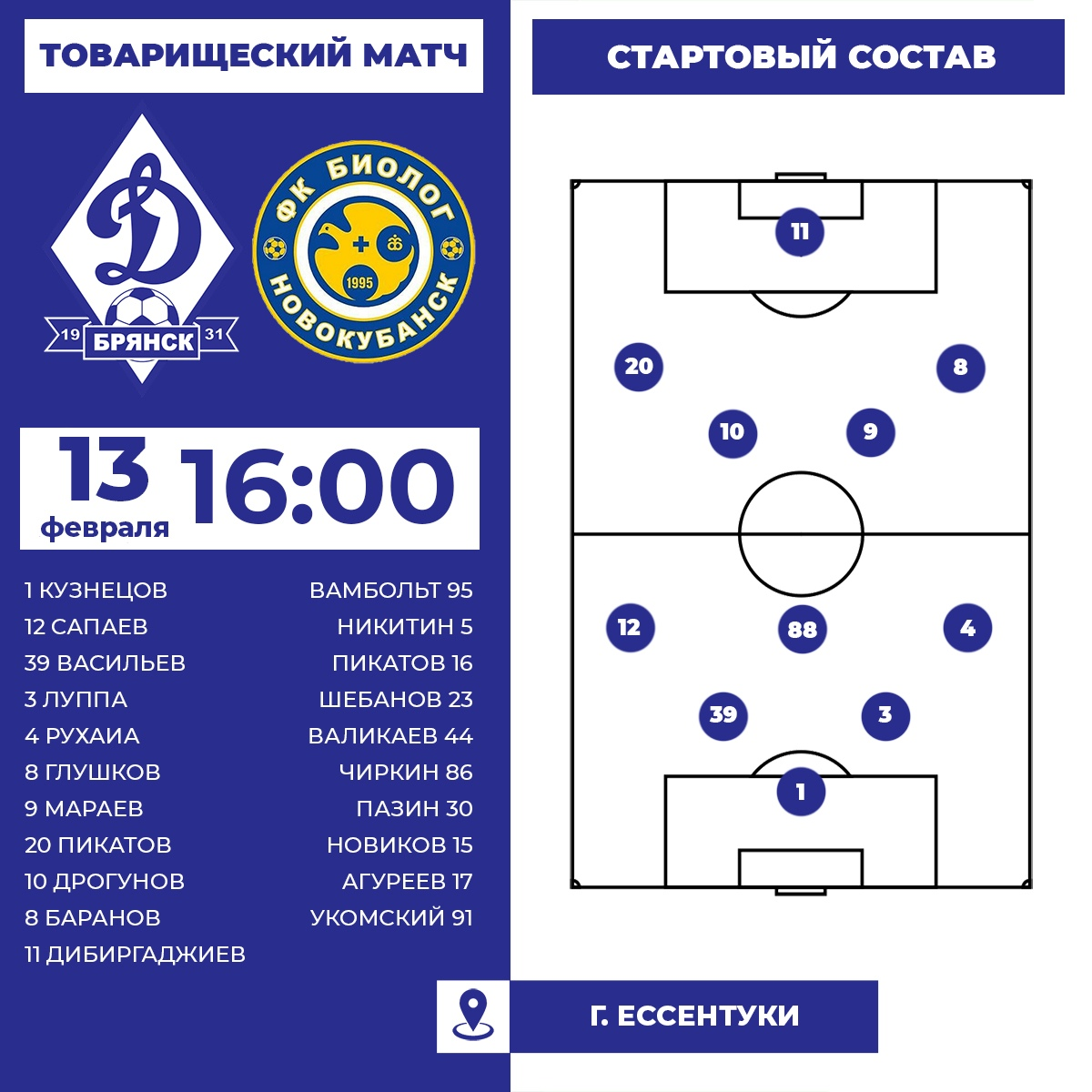Динамо (Брянск) - Биолог-Новокубанск (Новокубанск) 3:1