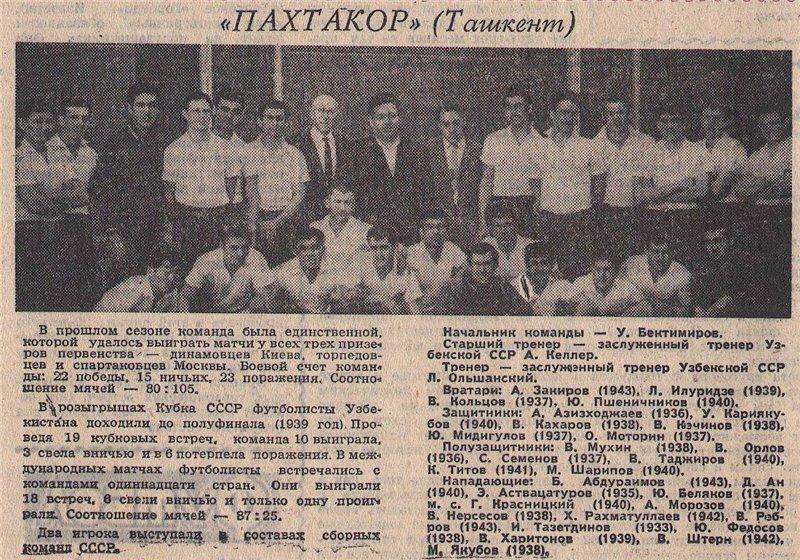Пахтакор (Ташкент) - 1962