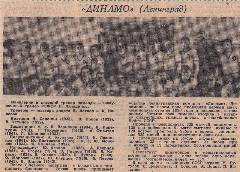 Динамо (Ленинград) - 1962