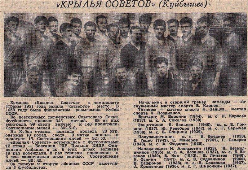 Крылья Советов (Куйбышев) - 1962
