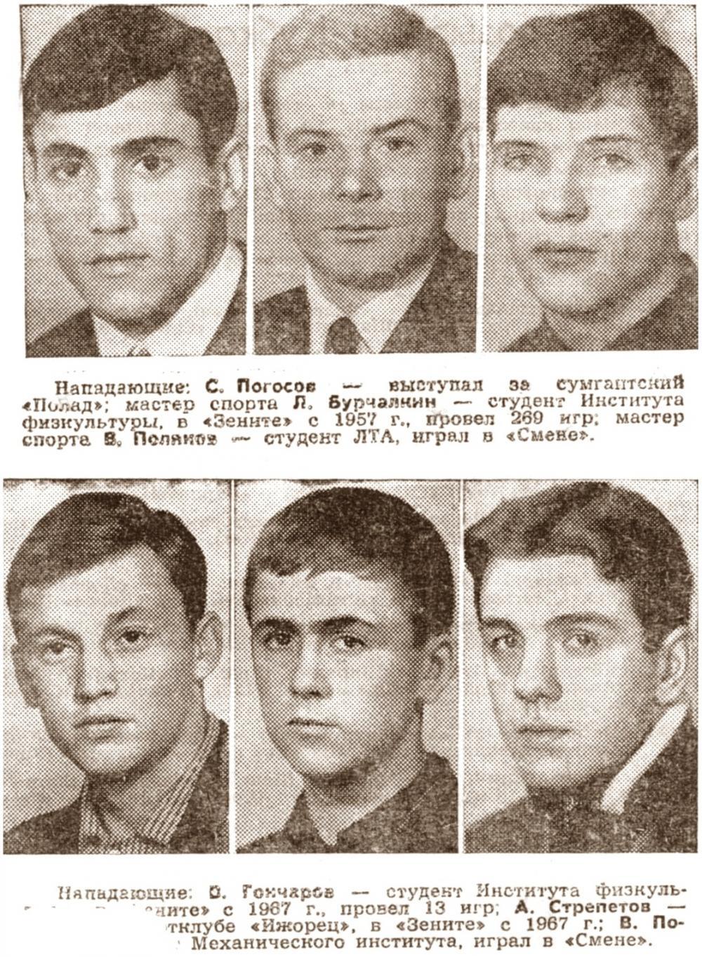 Зенит (Ленинград) - 1968. Нажмите, чтобы посмотреть истинный размер рисунка