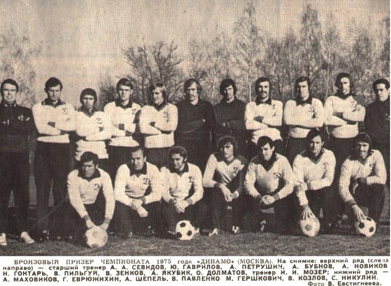 Динамо (Москва) - 1975 бронзовый призер. Нажмите, чтобы посмотреть истинный размер рисунка